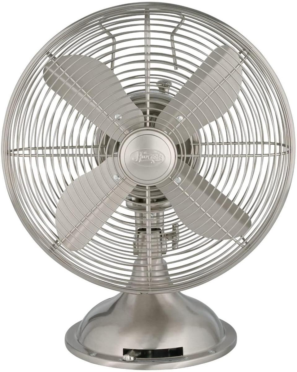 "<p>Granny knew a thing or two about air circulation. This brushed nickel Hunter fan takes her coolant of choice up a notch. It oscillates, tilts, and has 3 speeds (but note the granny chic retro style of the control).</p> <p><strong>BUY IT:</strong> HUNTER 90400 Retro Table Fan, $59;<a href=""https://www.amazon.com/Hunter-Home-Comfort-Brushed-Nickel/dp/B00JWXQDY8?&linkCode=ll1&tag=slthingsfromgrandmothershousevluesse0321-20&linkId=f403ab0d287f7a4ac98d2ec720bdfdc4&language=en_US&ref_=as_li_ss_tl"" rel=""sponsored noopener"" target=""_blank"" data-ylk=""slk:Amazon.com"" class=""link rapid-noclick-resp""> Amazon.com</a></p>"