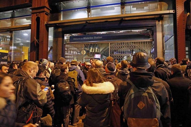 Passengers stuck outside in the cold after the station was shut to limit numbers. (Nigel Howard)