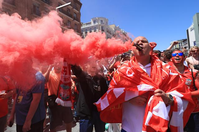 Liverpool supporters at the team's fanzone at Plaza Salvador Dali in Madrid, ahead of the Champions League final. (Photo by Aaron Chown/PA Images via Getty Images)