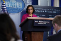 White House Domestic Policy Adviser Susan Rice speaks during a press briefing at the White House, Tuesday, Jan. 26, 2021, in Washington. (AP Photo/Evan Vucci)