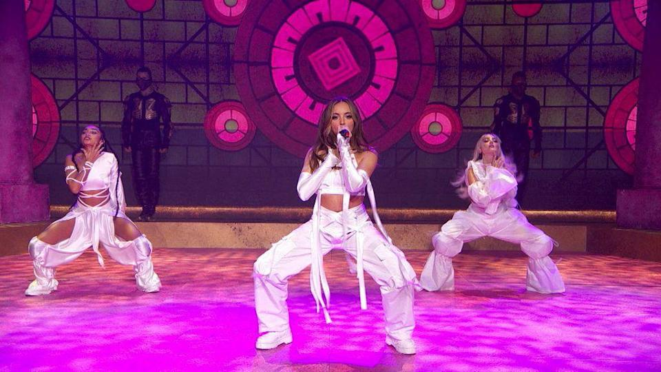<p>If two outfits wasn't enough, Little Mix switched into a third for their performance of new single 'Sweet Melody' - and we really want Perrie's pants especially. </p>
