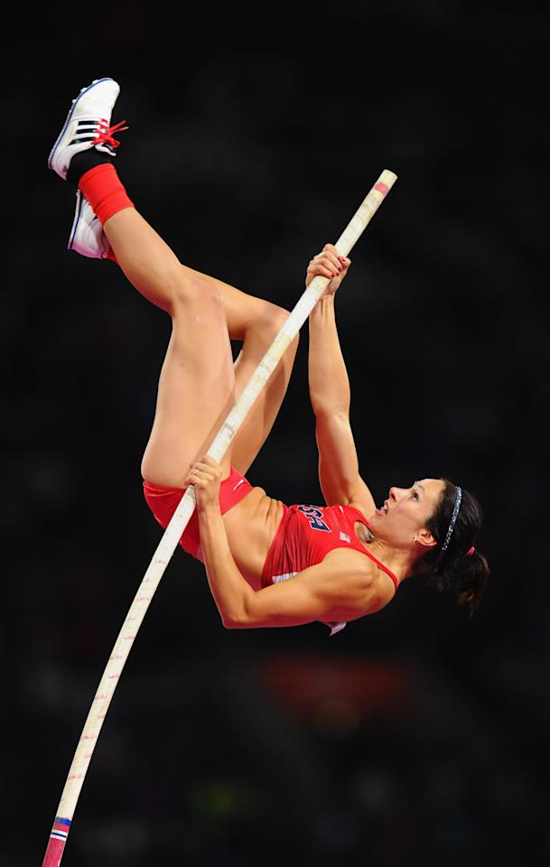 LONDON, ENGLAND - AUGUST 06:  Jennifer Suhr of the United States competes in the Women's Pole Vault final on Day 10 of the London 2012 Olympic Games at the Olympic Stadium on August 6, 2012 in London, England.  (Photo by Mike Hewitt/Getty Images)