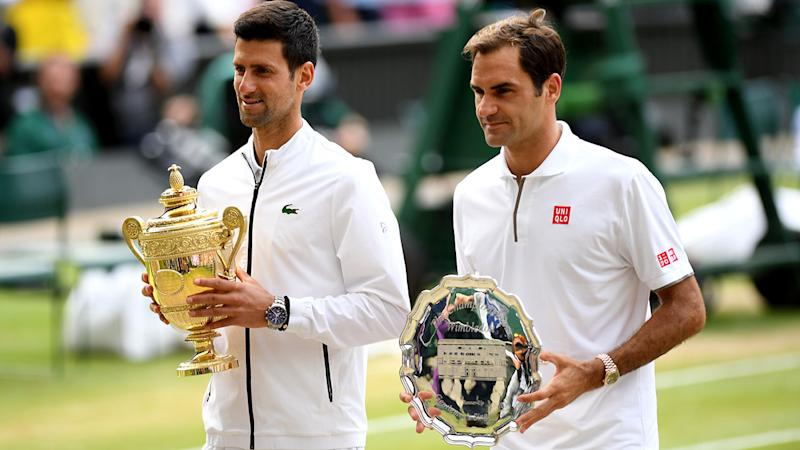 Novak Djokovic and Roger Federer, pictured here after the 2019 Wimbledon final.