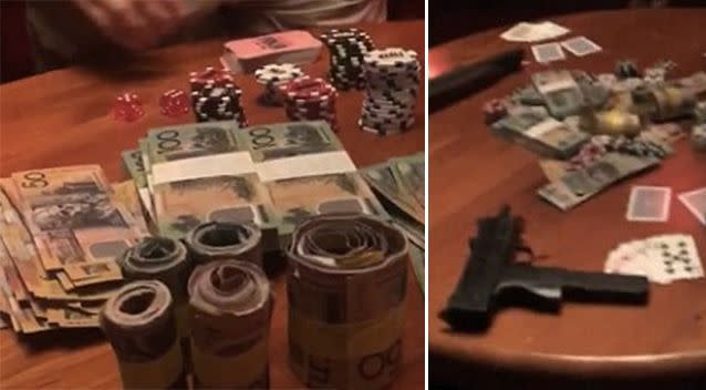 Other props for the set included poker chips and wads of cash. Photo: Instagram