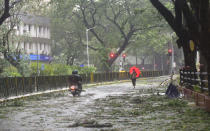 MUMBAI, INDIA - JUNE 3: Branches and leaves fallen due to to gusty winds, after Nisarg Cyclone hits coastal line at Vidhan Bhavan on June 3, 2020 in Mumbai, India. Alibaug witnessed wind speeds of up to 120 kilometres per hour. Although the cyclone made the landfall just 95 kilometres from Mumbai, the Maharashtra capital largely escaped its wrath. (Photo by Anshuman Poyrekar/Hindustan Times via Getty Images)