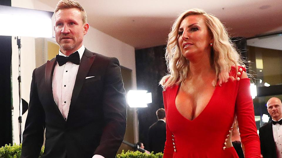 Nathan Buckley and wife Tania, pictured here at the 2019 Brownlow Medal.