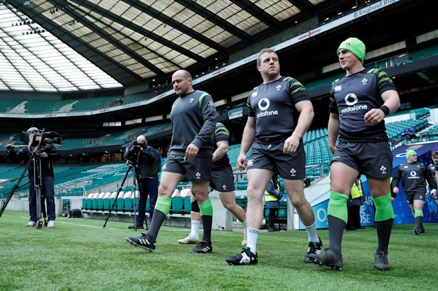 Rugby Union - Ireland Captain's Run - Twickenham Stadium, London, Britain - March 16, 2018 Ireland's Rory Best (L) comes out for the captains run Action Images via Reuters/Andrew Couldridge