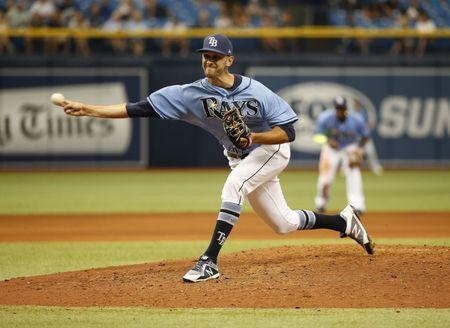 FILE PHOTO: Aug 6, 2017; St. Petersburg, FL, USA; Former Tampa Bay Rays relief pitcher Steve Cishek (33) throws a pitch during the seventh inning against the Milwaukee Brewers at Tropicana Field. Kim Klement-USA TODAY Sports