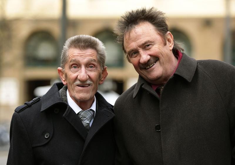 The Chuckle Brothers, Barry and Paul Elliott, arrive at Southwark Crown Court in London, where they wil appear as witnesses in the trial of Former DJ Dave Lee Travis who is accused of 13 counts of indecent assault dating back to between 1976 and 2003, and one count of sexual assault in 2008. (Photo by Yui Mok/PA Images via Getty Images)