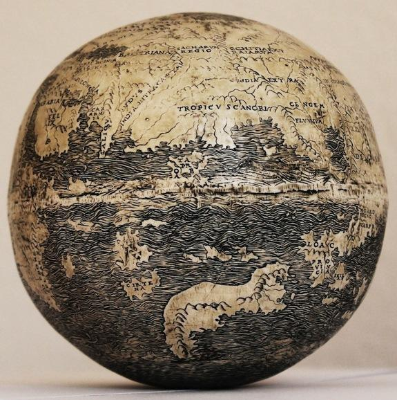 Asia on the ostrich egg globe, showing the large peninsula jutting southward at the right which is evidence of the influence of Henricus Martellus, a German cartographer who worked in Florence.