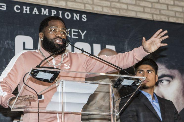 Adrien Broner takes on Mikey Garcia, right, on Saturday at the Barclays Center. (AP)