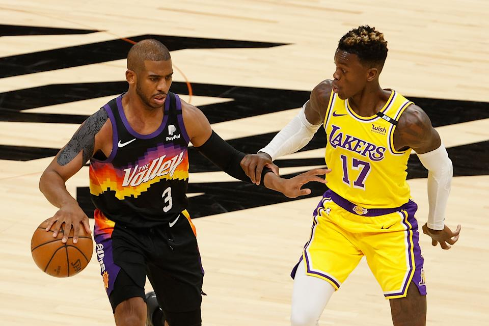 Chris Paul and Dennis Schroder will square off again in Game 3. (Photo by Christian Petersen/Getty Images)
