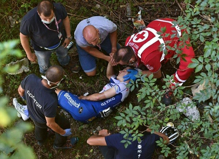 Deceuninck-Quick Step rider Evenepoel fell during the Tour of Lombardy