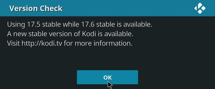 how to update kodi on every device version check notification