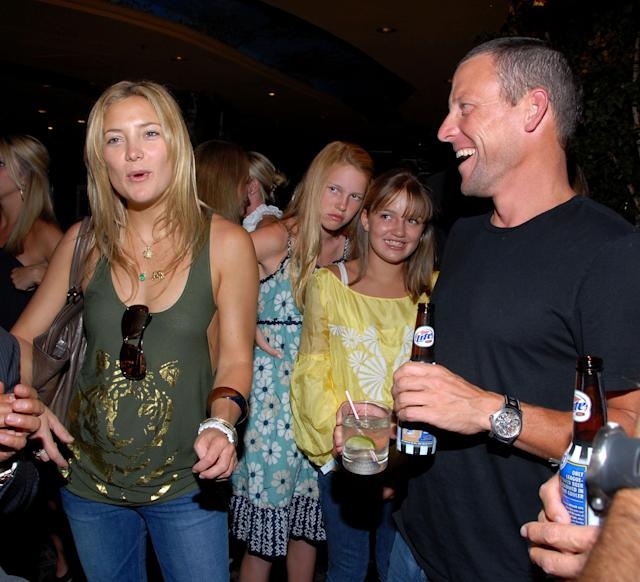 LAKE TAHOE, NV - JULY 09: Actress Kate Hudson and Lance Armstrong attend Backstage Creations at 2008 American Century Championship July 9, 2008 at Harrahs Lake Tahoe in Lake Tahoe , Nevada. (Photo by Mark Sullivan/WireImage)