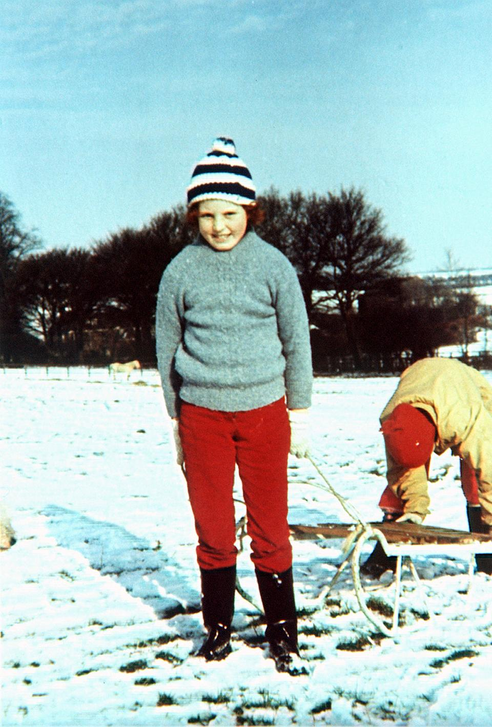 A library file picture taken from the Ferguson family album of Sarah Ferguson, The Duchess of York aged of 10 years at her home in the snow at Dummer, Hampshire.