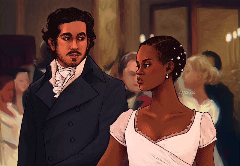 Dev Patel and Letitia Wright as Mr. Darcy and Elizabeth Bennet in Pride and Prejudice. (Image: Courtesy of Zoe Hsu)