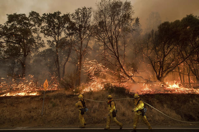<p>Firefighters battle a wildfire as it threatens to jump a street near Oroville, Calif., on Saturday, July 8, 2017. Evening winds drove the fire through several neighborhoods leveling homes in its path. (AP Photo/Noah Berger) </p>
