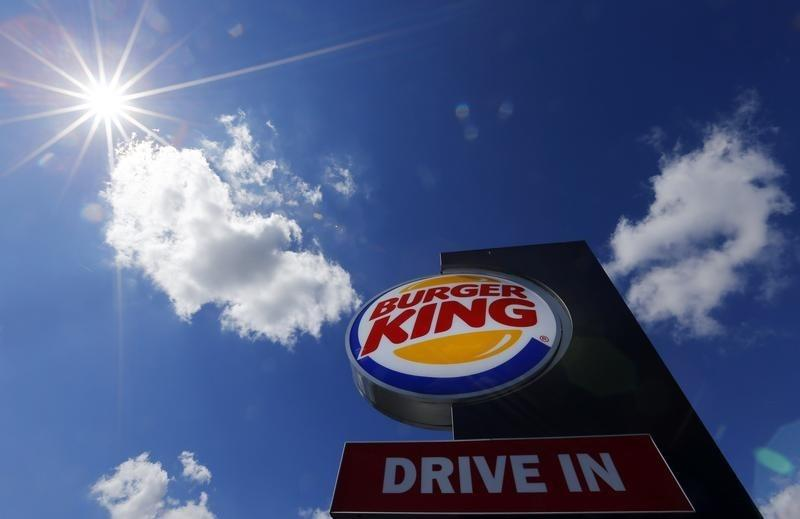 Logo of a Burger King fast food outlet is seen at the chain's drive-through branch in Hanau