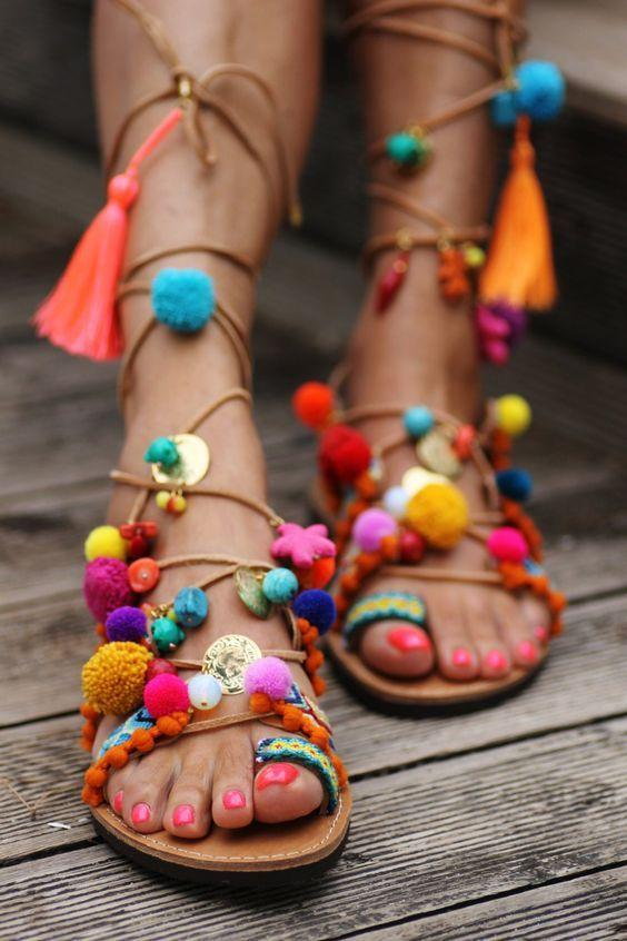 "<p>If heels aren't your thing you can make you sandals real boho chic. <i><a href=""https://uk.pinterest.com/pin/482588916300814725/""> [Photo: Pinterest]</a></i></p>"