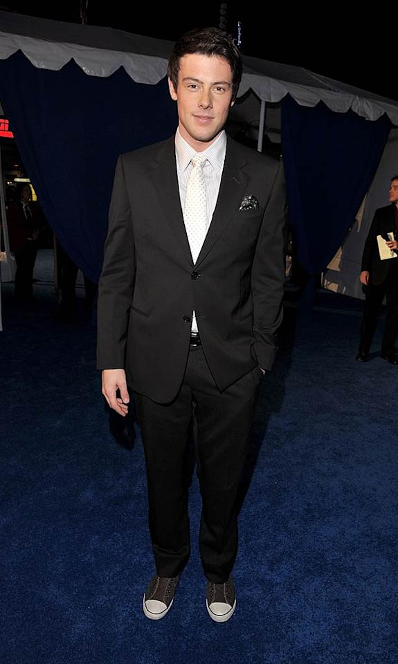 """Glee's"" Cory Monteith jazzed up his dapper suit with a polka dot tie and a pair of Converse ""Chucks."" Lester Cohen/<a href=""http://www.wireimage.com"" target=""new"">WireImage.com</a> - January 5, 2011"