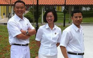 New PAP candidates, from left: Mr Steve Tan Peng Hoe, Ms Foo Mee Har, Mr Desmond Lee Ti-Seng. (Yahoo! photo)