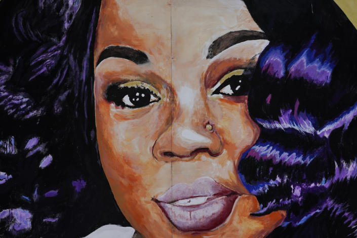 FILE - This Wednesday, Sept. 23, 2020 file photo, shows a mural of Breonna Taylor in Louisville, Ky. For months, Taylor's name has been a rallying cry for Black activists who hoped Black women and their deaths at the hands of police would finally receive the same attention given to cases concerning the extrajudicial killing of Black men. (AP Photo/Darron Cummings, File)