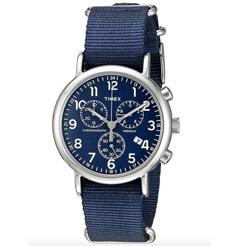 "<p><strong>Timex</strong></p><p>amazon.com</p><p><strong>$48.87</strong></p><p><a href=""https://www.amazon.com/dp/B01JO766FW?tag=syn-yahoo-20&ascsubtag=%5Bartid%7C10054.g.32936561%5Bsrc%7Cyahoo-us"" rel=""nofollow noopener"" target=""_blank"" data-ylk=""slk:Buy"" class=""link rapid-noclick-resp"">Buy</a></p><p>A weekender chronograph you'll want to wear all week. </p>"