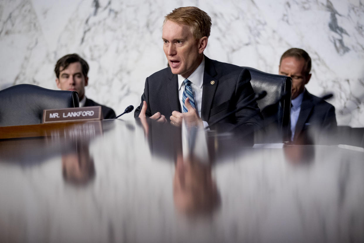 Sen. James Lankford, R-Okla., speaks during a Senate Intelligence Committee hearing on Russian interference in the 2016 elections. (Photo: Andrew Harnik/AP)