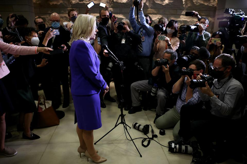 Liz Cheney fronts reporters after she was removed from her Republican leadership role.