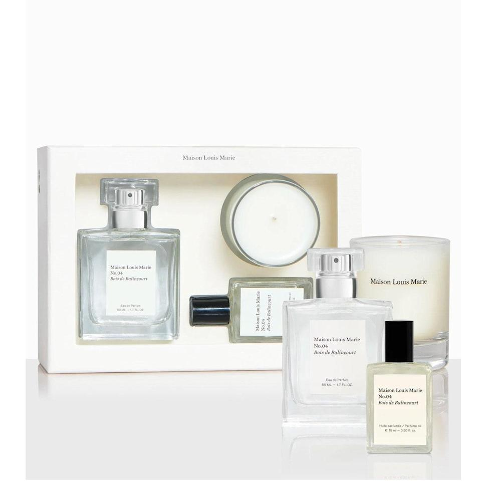 """For your coolest friend, go for this set, which smells like a trendy hotel lobby and looks chic as hell in any shelfie. Plus, it's an incredible bargain, you're essentially getting the oil for free. $110, Maison Louis Marie. <a href=""""https://www.sephora.com/product/no-04-bois-de-balincourt-votive-set-P451665"""" rel=""""nofollow noopener"""" target=""""_blank"""" data-ylk=""""slk:Get it now!"""" class=""""link rapid-noclick-resp"""">Get it now!</a>"""