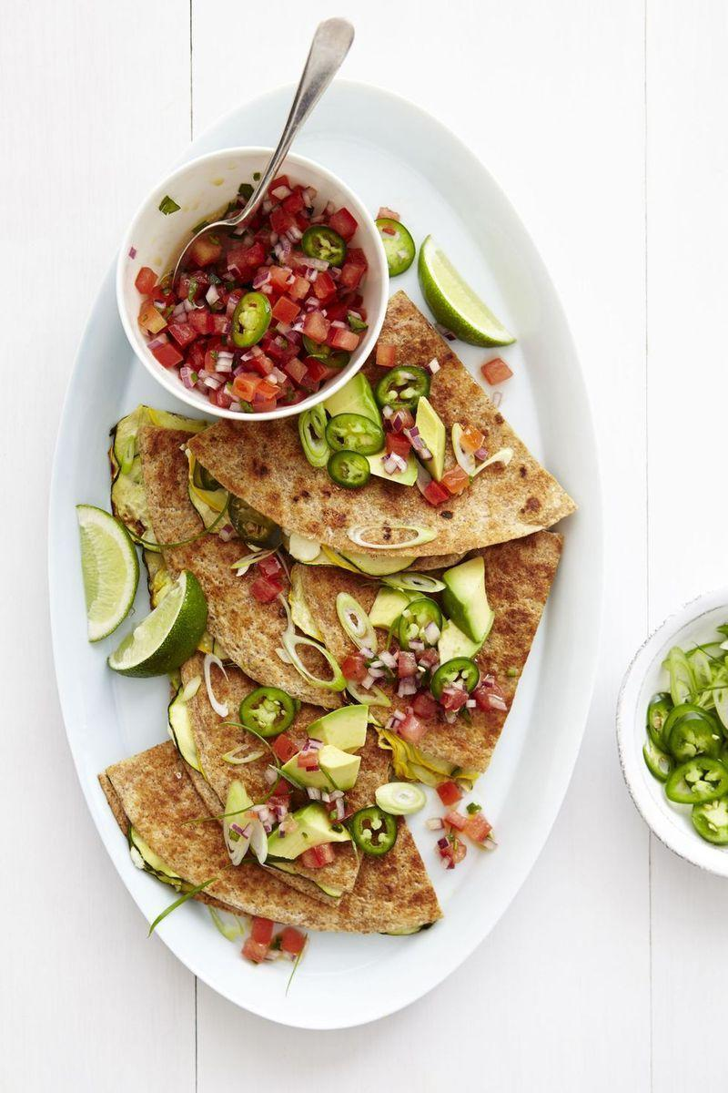 "<p>Here's a vegetarian twist on your favorite quesadilla. Who knew cheese paired so well with zucchini?</p><p><a href=""http://www.drozthegoodlife.com/healthy-food-nutrition/healthy-recipe-ideas/recipes/a2092/zucchini-and-cheese-quesadillas/"" rel=""nofollow noopener"" target=""_blank"" data-ylk=""slk:Get the recipe for Zucchini and Cheese Quesadillas »"" class=""link rapid-noclick-resp""><em>Get the recipe for Zucchini and Cheese Quesadillas »</em></a></p>"