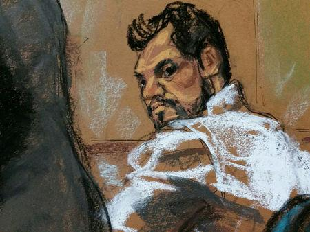 Mehmet Hakan Atilla, a deputy general manager of Halkbank, is shown in this court room sketch as he appears in Manhattan federal court in New York, New York, U.S., March 28, 2017.   REUTERS/Jane Rosenberg