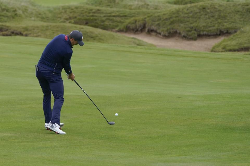 Team USA's Jordan Spieth hits on the fifth hole during a practice day at the Ryder Cup at the Whistling Straits Golf Course Tuesday, Sept. 21, 2021, in Sheboygan, Wis. (AP Photo/Charlie Neibergall)
