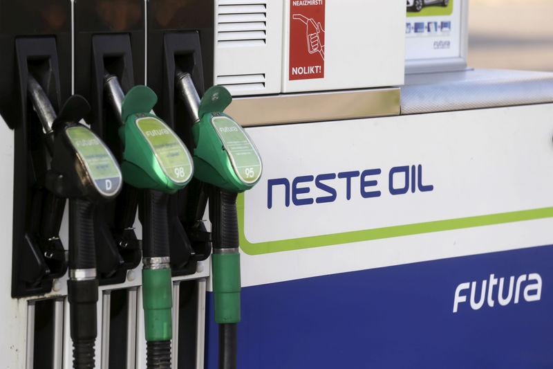 FILE PHOTO: Neste Oil fuel pumps at a petrol station in Adazi