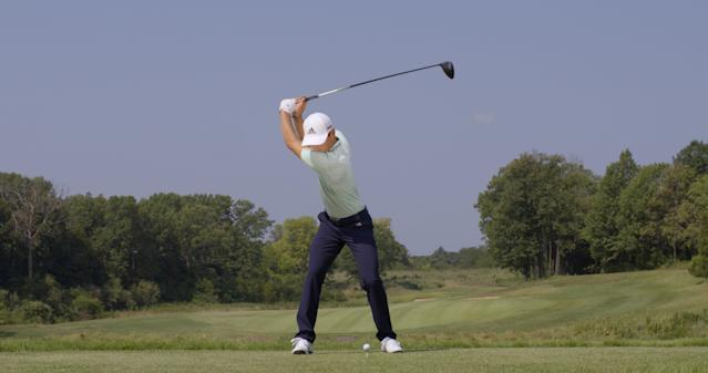 "<p><strong>LOWER BODY LEADS</strong></p> <p>The distance between his hands and clubhead halfway down—the lag—is dramatic, McLean says. It's a lot like the clubhead lag of another Spanish-speaking pro, Sergio Garcia. ""His right arm is now under the left, his lower body has shifted forward, and his shoulders are trailing. He's going to bomb it.""</p>"