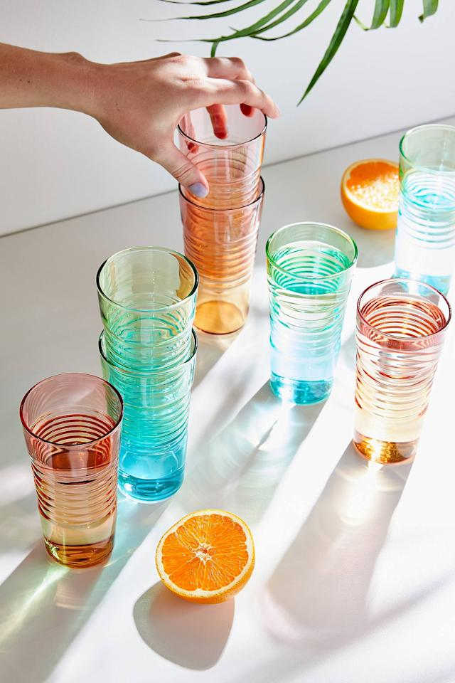 """<p>You need this pretty set of <a href=""""https://www.popsugar.com/buy/MoMA-Ombre-Milk-Glasses-476989?p_name=MoMA%20Ombre%20Milk%20Glasses&retailer=urbanoutfitters.com&pid=476989&price=40&evar1=casa%3Aus&evar9=46528347&evar98=https%3A%2F%2Fwww.popsugar.com%2Fhome%2Fphoto-gallery%2F46528347%2Fimage%2F46532233%2FMoMA-Ombre-Milk-Glasses&list1=shopping%2Ckitchens%2Ckitchen%20accessories%2Chome%20shopping&prop13=mobile&pdata=1"""" rel=""""nofollow"""" data-shoppable-link=""""1"""" target=""""_blank"""" class=""""ga-track"""" data-ga-category=""""Related"""" data-ga-label=""""https://www.urbanoutfitters.com/shop/moma-ombre-milk-glass-set-of-4?category=dinnerware&amp;color=089&amp;type=REGULAR"""" data-ga-action=""""In-Line Links"""">MoMA Ombre Milk Glasses</a> ($40).</p>"""