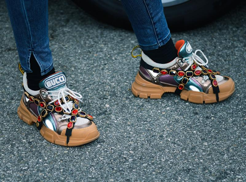 BEVERLY HILLS, CALIFORNIA - APRIL 28: Ivy Getty, wearing Gucci Flashtrek sneakers with removable crystals, attends the 2019 BritWeek Car Rally on April 28, 2019 in Beverly Hills, California. (Photo by Chelsea Guglielmino/Getty Images)