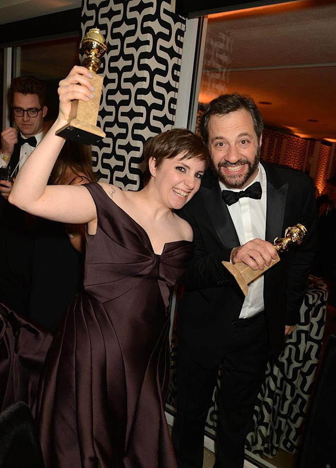 Lena Dunham and Judd Apatow attend HBO's Official Golden Globe Awards After Party held at Circa 55 Restaurant at The Beverly Hilton Hotel on January 13, 2013 in Beverly Hills, California.