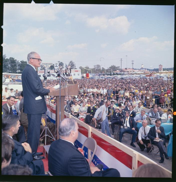The 1964 GOP presidential candidate Barry Goldwater speaking at a rally.
