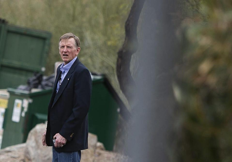 Rep. Paul Gosar walks to his car after speaking at the Arizona Republican Party state meeting at Dream City Church in Mesa, Ariz. on Jan. 23, 2021.