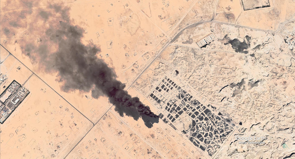A plume of smoke has been spotted billowing from Sulaibiya tire graveyard in Kuwait. Source: Google Earth / Maxar Technologies