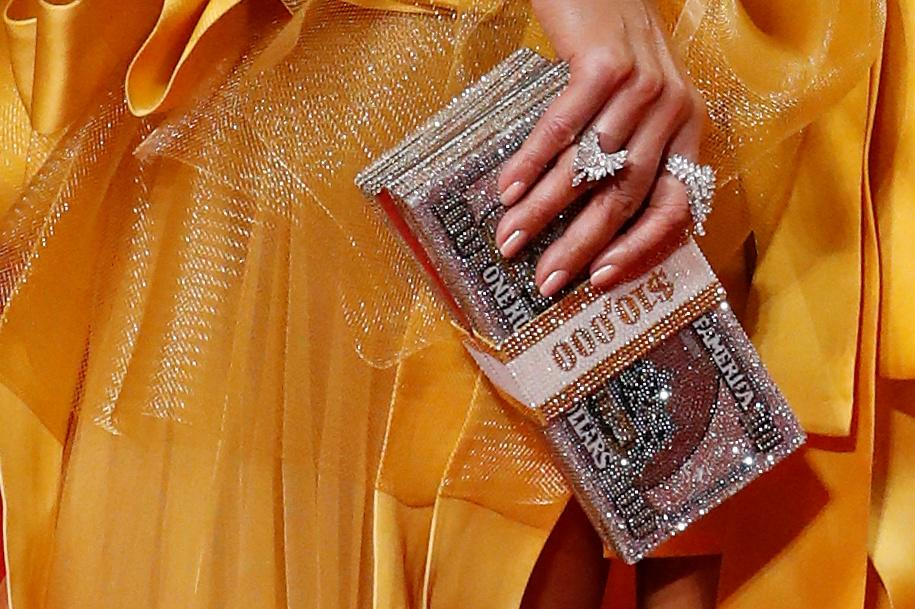 The purse of cast member Jennifer Lopez is seen as she arrives for the gala presentation of Hustlers at the Toronto International Film Festival (TIFF) in Toronto, Ontario, Canada September 7, 2019. REUTERS/Mario Anzuoni