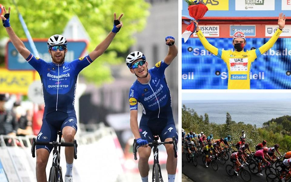 Josef Cerny (left to right, clockwise), Mikkel Honore and Brandon McNulty — Brandon McNulty on verge of Tour of Basque Country win after Mikkel Honore seals Deceuninck-Quick Step one-two - GETTY IMAGES