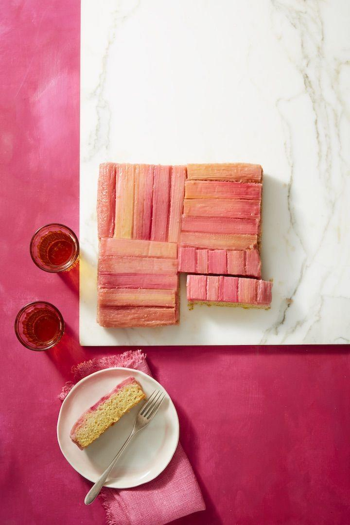 """<p>Pineapple upside down cake may be for summer, but this springy version uses the season's finest produce to make a showstopping treat.</p><p><em><a href=""""https://www.womansday.com/food-recipes/food-drinks/a19810598/rhubarb-and-almond-upside-down-cake-recipe/"""" rel=""""nofollow noopener"""" target=""""_blank"""" data-ylk=""""slk:Get the recipe from Woman's Day »"""" class=""""link rapid-noclick-resp"""">Get the recipe from Woman's Day »</a></em></p>"""