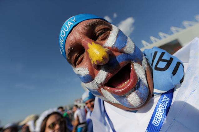 Soccer Football - World Cup - Group A - Uruguay vs Saudi Arabia - Rostov Arena, Rostov-on-Don, Russia - June 20, 2018 Uruguay fan outside the stadium before the match REUTERS/Marcos Brindicci TPX IMAGES OF THE DAY