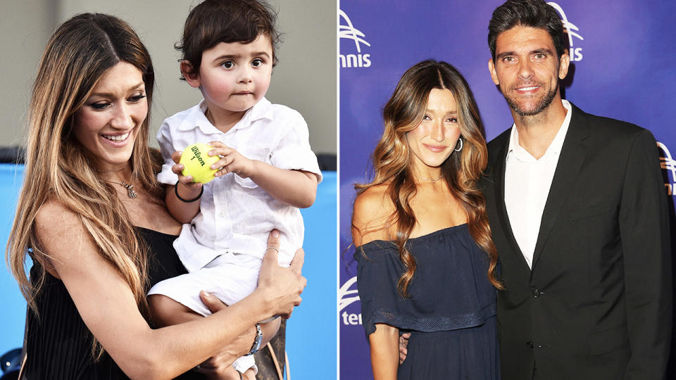 Mark Philippoussis, pictured here with wife Silvana Lovin and their son.