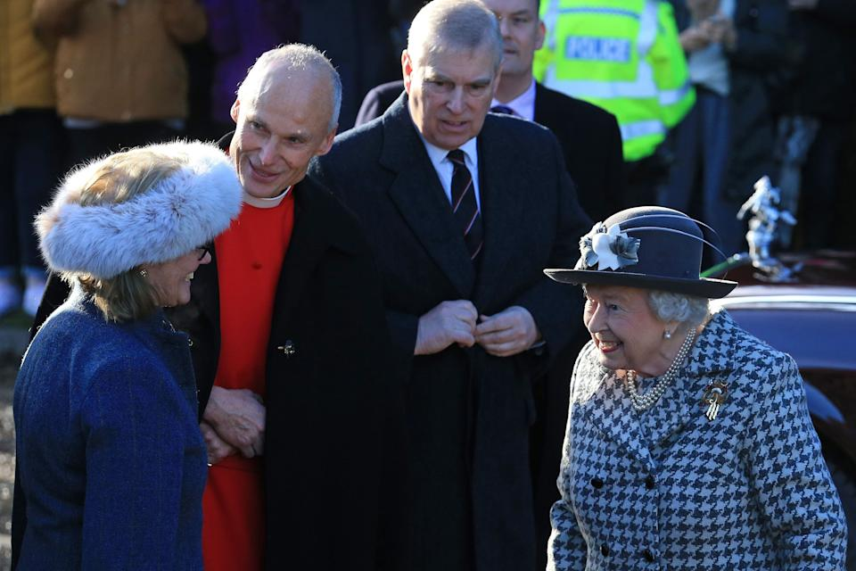Britain's Prince Andrew, Duke of York, (C) accompanies Britain's Queen Elizabeth II as she arrives for a church service at St Mary the Virgin Church in Hillington, Norfolk, eastern England, on January 19, 2020. - Britain's Prince Harry and his wife Meghan will give up their royal titles and public funding as part of a settlement with the Queen to start a new life away from the British monarchy. The historic announcement from Buckingham Palace on Saturday follows more than a week of intense private talks aimed at managing the fallout of the globetrotting couple's shock resignation from front-line royal duties. (Photo by Lindsey Parnaby / AFP) (Photo by LINDSEY PARNABY/AFP via Getty Images)