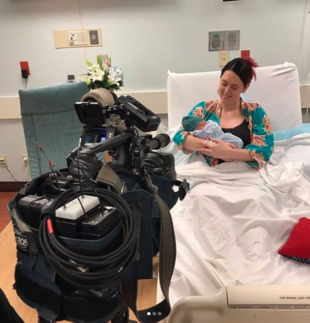 Cassiday, who has documented the birth on her Instagram account, said she went into labour two weeks earlier than expected and while the broadcast wasn't planned, she's glad she did it now. Photo: Instagram/Cassiday Proctor