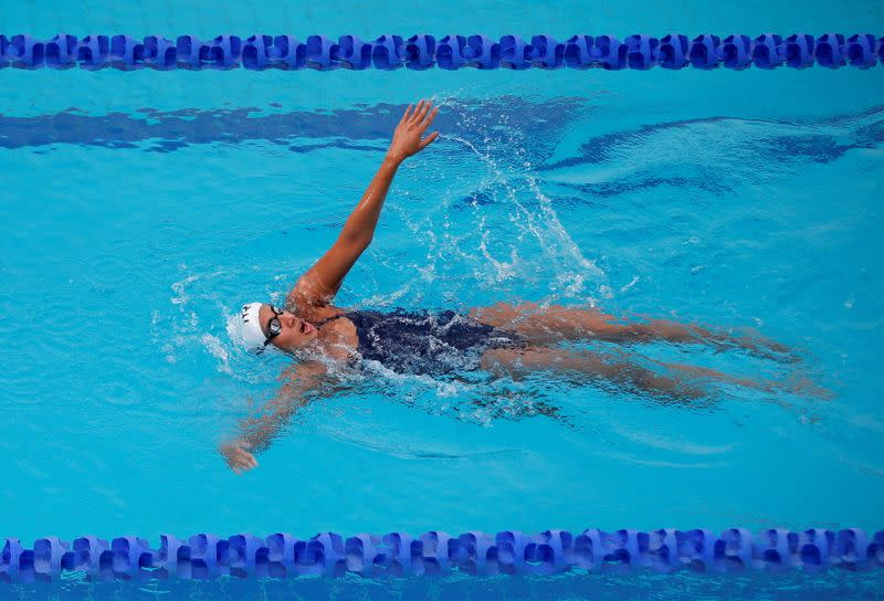Indian swimmer Maana Patel practises for the Tokyo 2020 Olympics, in Ahmedabad